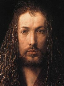 """Self Portrait in a Fur-Collared Robe"" by Albrecht Durer.  A picture of an intent, almost psychotic man, with long, scraggly hair.  He looks a little like the popular conception of Jesus."