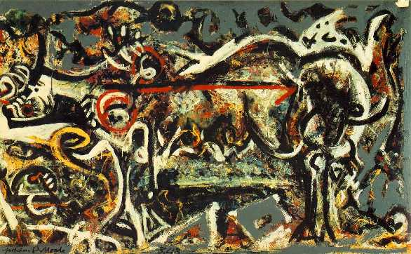 """She-Wolf"" by Jackson Pollock.  A wild and crazy representation of a wolf."